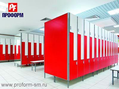 Z-shaped lockers from HPL for fitting rooms №1