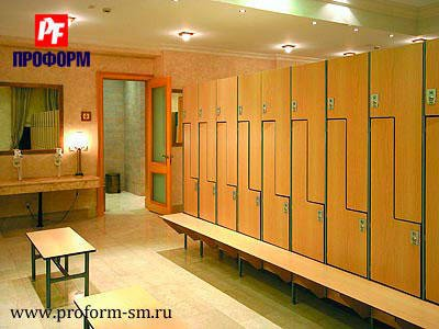 Z-shaped lockers from HPL for fitting rooms №2