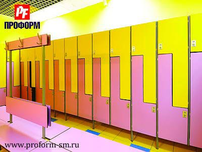Z-shaped lockers from HPL for fitting rooms №3